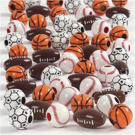 Bild von Perles de sport, dim. 11-15 mm, la taille du trou 3-4 mm, Couleurs assorties, 45gr, env. 55 pièce [HOB-689840]