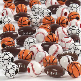 Bild von Perles de sport, dim. 11-15 mm, la taille du trou 3-4 mm, Couleurs assorties, 270gr, env. 220 pièce [HOB-68984]